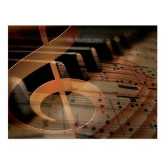 Cartão Postal Chaves do piano com Clef