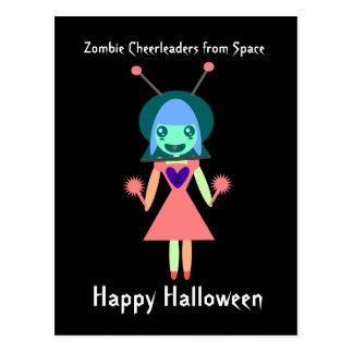 Cartão Postal Cheerleader do zombi do espaço o Dia das Bruxas