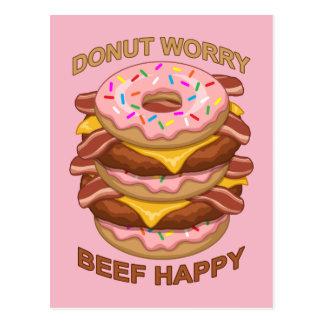 Cartão Postal Cheeseburger feliz do bacon da carne engraçada da