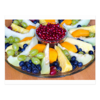 Cartão Postal Cheio de vidro da escala de várias frutas frescas