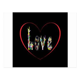 Cartão Postal Cheio do coração do ASL do amor