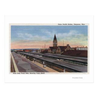 Cartão Postal Cheyenne, WY - estação de estrada de ferro