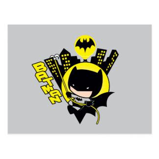 Cartão Postal Chibi Batman que escala a cidade