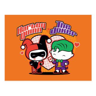 Cartão Postal Chibi Harley Quinn & corações do palhaço de Chibi
