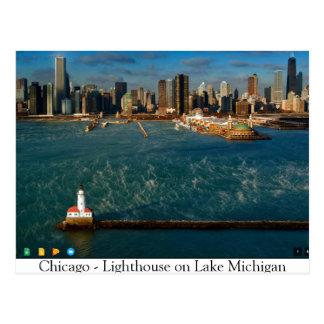 Cartão Postal Chicago -- Farol no Lago Michigan