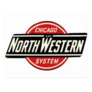 Cartão Postal Chicago & logotipo do noroeste 1 da estrada de
