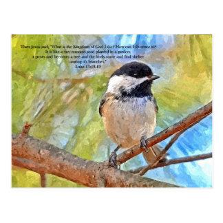 Cartão Postal Chickadee da aguarela com verso da bíblia