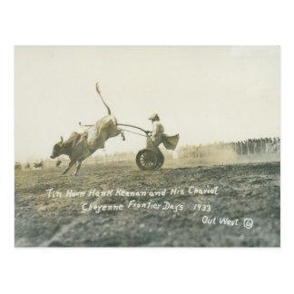 Cartão Postal Chifre Hank Keenan da lata e seu chariot.
