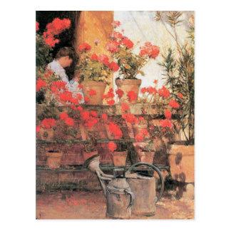 Cartão Postal Childe Hassam - gerânio vermelhos