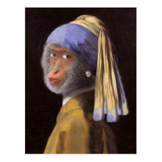 Cartão Postal Chimpanzé com o brinco da pérola