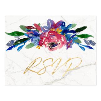 Cartão Postal Chique azul de mármore elegante RSVP do ouro de
