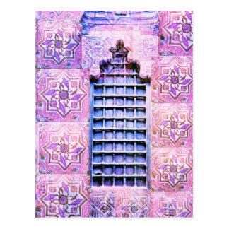 Cartão Postal Chique de Oranate Boho do rosa da janela de