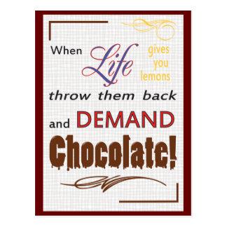 Cartão Postal Chocolate da procura