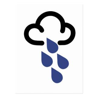 Cartão Postal Chuva pesada: Símbolo retro da previsão de tempo