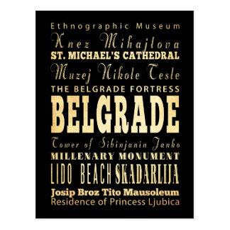 Cartão Postal Cidade de Belgrado da arte da tipografia de Serbia