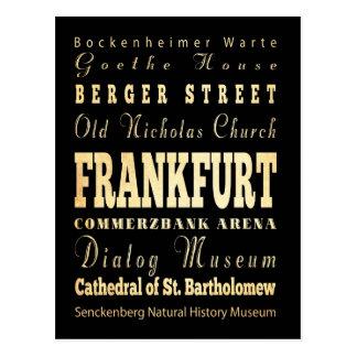 Cartão Postal Cidade de Francoforte da arte da tipografia de