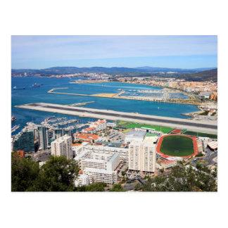Cartão Postal Cidade de Gibraltar e pista de decolagem do