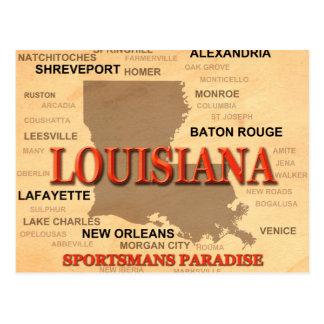 Cartão Postal Cidade de Louisiana e mapa do orgulho do estado