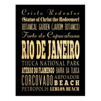 Cartão Postal Cidade de Rio de Janeiro da arte da tipografia de