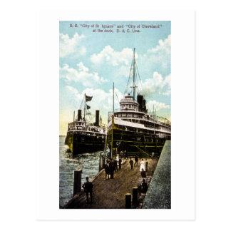 Cartão Postal Cidade de St. Ignace & cidade de Cleveland, linha