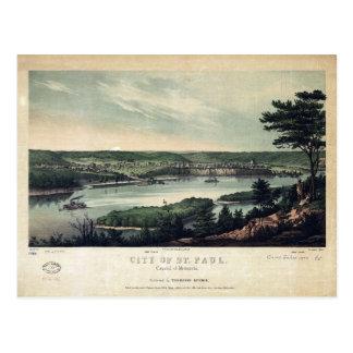 Cartão Postal Cidade de St Paul, capital de Minnesota (1853)