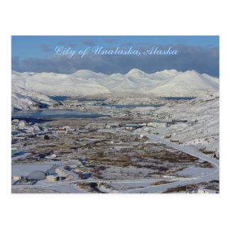Cartão Postal Cidade de Unalaska no inverno, ilha de Unalaska