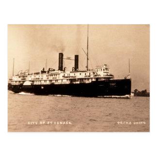 Cartão Postal Cidade do navio a vapor da linha do St. Ignace D&C