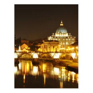 Cartão Postal Cidade do Vaticano, Roma, Italia na noite