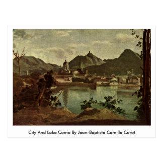 Cartão Postal Cidade e lago Como por Jean-Baptiste Camilo Corot