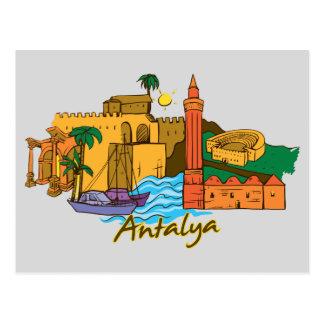 Cartão Postal Cidade famosa de Antalya, Turquia