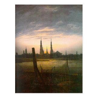 Cartão Postal Cidade no Moonrise por Caspar David Friedrich