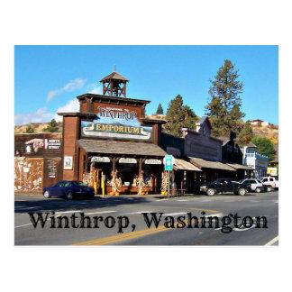 Cartão Postal Cidade ocidental velha de Winthrop, Washington