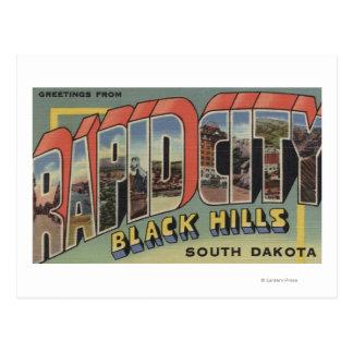 Cartão Postal Cidade rápida, South Dakota - grandes cenas da
