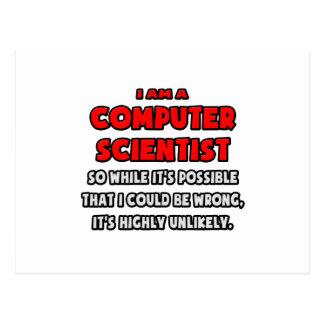 Cartão Postal Cientista de computador engraçado. Altamente