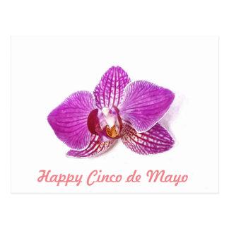 Cartão Postal Cinco de Mayo, arte floral da aguarela da orquídea