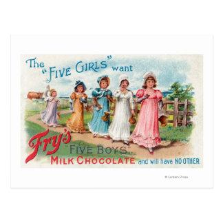 Cartão Postal Cinco meninas querem o chocolate de leite dos