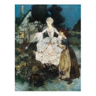 Cartão Postal Cinderella e madrinha feericamente