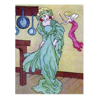 Cartão Postal CInderella e sua madrinha de Fairie
