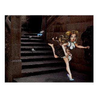 Cartão Postal Cindy e os ratos em escadas