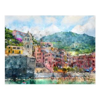 Cartão Postal Cinque Terre Italia no Riviera italiano
