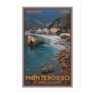 Cartão Postal Cinque Terre - praia de Monterosso da manhã