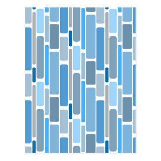 Cartão Postal Cinza azul dos blocos retros
