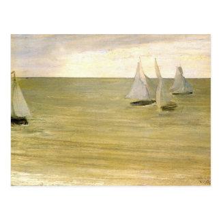 Cartão Postal Cinzento e esverdeie o mar de prata pelo