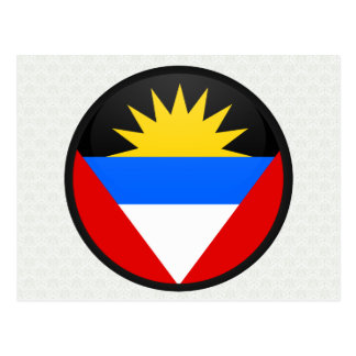 Cartão Postal Círculo da bandeira da qualidade de Antígua e de