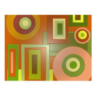 Cartão Postal círculos e quadrados amarelos