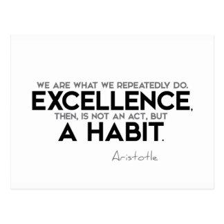 Cartão Postal CITAÇÕES: Aristotle: A excelência é um hábito