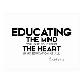 Cartão Postal CITAÇÕES: Aristotle: Educando a mente, coração
