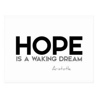 Cartão Postal CITAÇÕES: Aristotle: Esperança: acordando o sonho