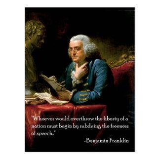 Cartão Postal Citações Benjamin_Franklin_1767 no discurso