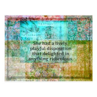 Cartão Postal Citações bonitos de Jane Austen do orgulho e do